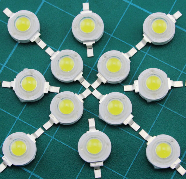 100pcs 6000~6500K Cold White 1W High Power LED Lamp Beads Bulb Chip 100~110LM