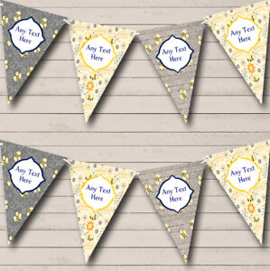 Party-Banner-Bunting-Bumble-Bee-Grey-amp-Yellow-Personalised-Children-039-s-Birthday