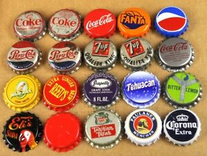 Set-With-20-Beer-Cola-Budweiser-Corona-u-A-Soda-Bottle-Cap-From-USA-Caps