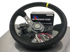 Jdm 350mm Deep Dished Racing Suede Alloy Steering Wheel Amp Quick Release Hub Kit