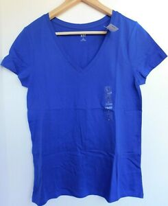 NWT-GAP-Women-039-s-Favorite-V-Neck-T-Shirt-Neptune-Blue-Sizes-XS-amp-M-NEW-Free-Ship
