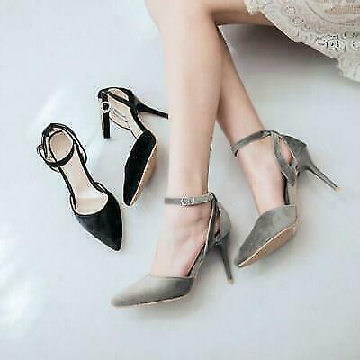 Femme Haut Stilettos Talons Hauts Fête Escarpins Bride Cheville Bout Pointu Chaussures #3