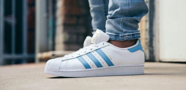 buty do biegania najlepszy zegarek adidas Superstar Foundation Mens By3716 White Light Blue Leather Shoes Size  9