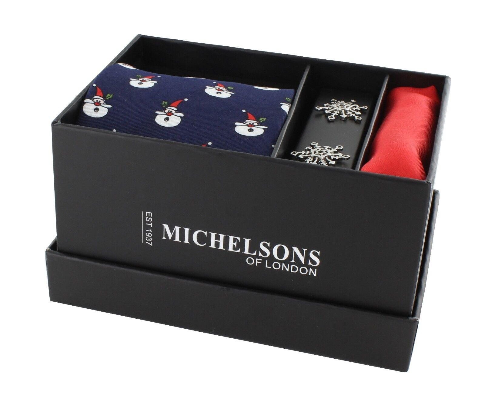 Navy Santa Claus Tie, Red Plain Silk Pocket Square & Cufflink Set