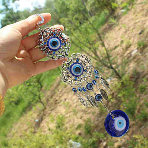 Blue Evil Eye Hamsa Hand Amulet Wall Protection Hanging Turkish Lucky Pendants