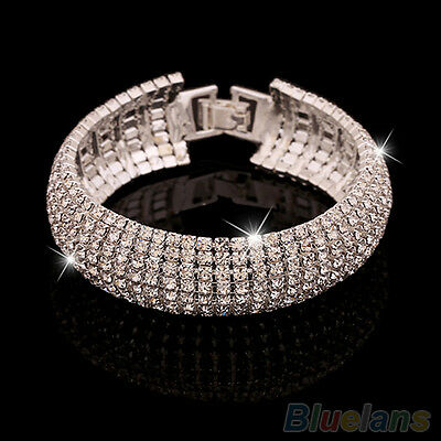 Womens Favorite Roman Rhinestone Wedding Party Mesh Wrap Cuff Bangle Bracelet