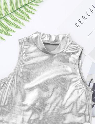 Kids Girls Metallic Crop Tops Tank Dance Gym Workout Shiny Sports Skinny Pants