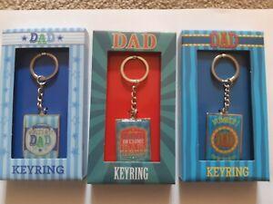 Dad Metallic Key Rings. Awesome Dad, Worlds Best Dad, Number 1 Dad. 3 Designs