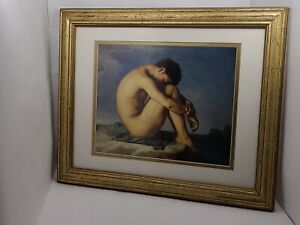 """VTG Jean-Hippolyte Flandrin Print: """"Young Male Nude Seated Beside the Sea"""" RARE!"""