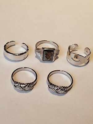 Sarah Coventry Silver Tone Jewelry Rings Lot Of 5 Adjustable Flower Silvertone