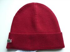 1b2de8fe3f2 Genuine LACOSTE Bordeaux Lightweight Wool Cuff BEANIE Hat Toque Hat OSFA  Tags