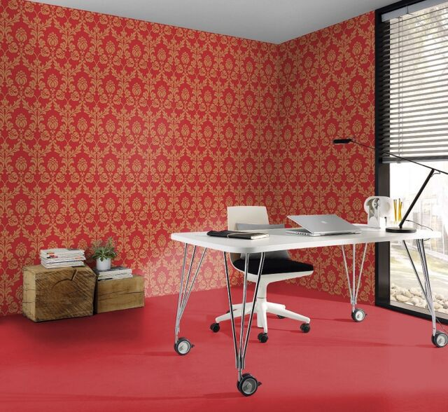 3 ROLLS OF   Velvet Feel, Red & Metallic Gold, Paste the Wall, Wallpaper