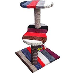Unique-Handmade-Cat-Scratching-Post-Tree-Three-Tier-Kitty-Climbing-Tower