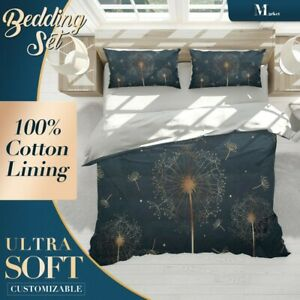Golden-Dandelions-Floral-Flowers-Black-Quilt-Cover-Queen-Size-Single-Double-King