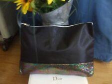 TIGI black with pink green yellow blue metallic clutch makeup toiletries purse