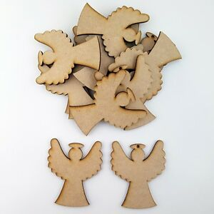 Details About 12x Wooden Mdf Christmas Angel Shape Craft Blank Embellishment Bauble Xmas Gift