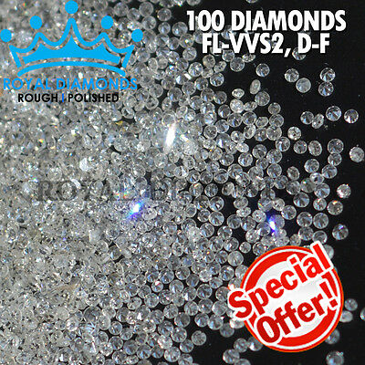 100% Natural Loose Round Single Cut 100 Diamonds FL-VVS D-F(White) Polished rc22