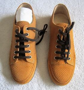 NEU-HEINE-Sneakers-Schnuerschuhe-Halbschuhe-38-39-40-41-cognac-braun-LEDER-Snake