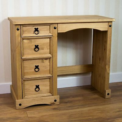 Corona 4 Drawer Dressing Table Mexican Solid Pine Wood Waxed Rustic Finish
