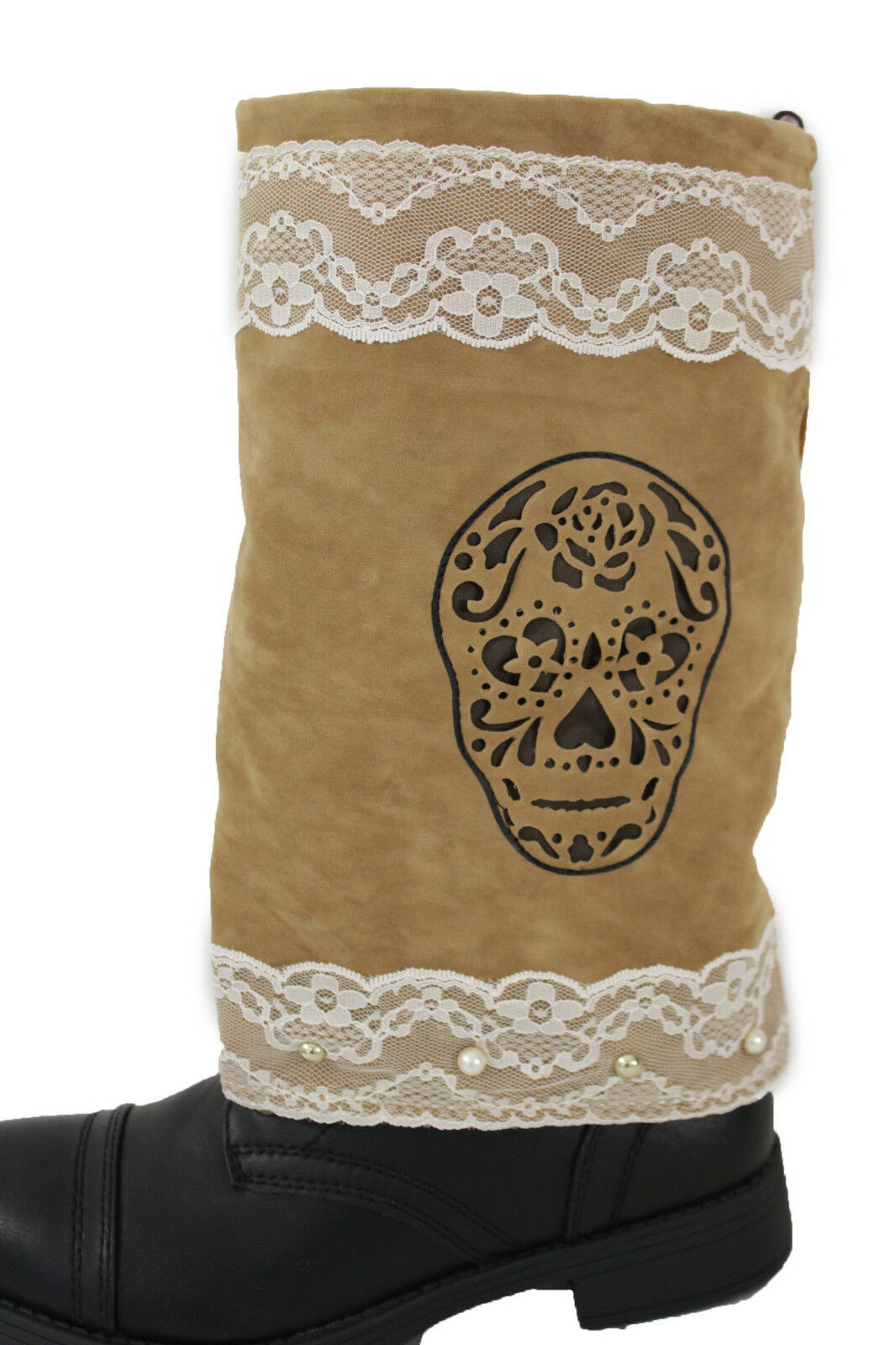 Women Boots Covers Toppers Pair Brown Faux Leather Slip On Western Sugar Skulls