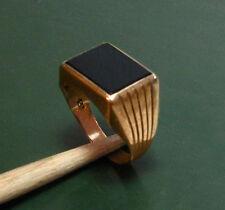 333er edad de oro señores-sello anillo m. länglichem Onyx * 3,95 g anillo caballeros