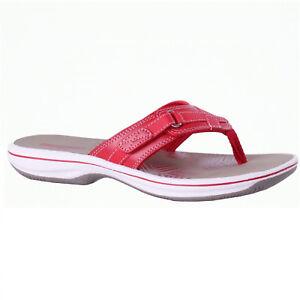 a5e940bca480 Women s Clarks BREEZE SEA 26125718 Red Slip-on Thong Sandal Shoes