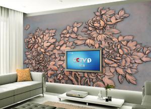 3D Bronze Carved Flowers 94 Wallpaper Mural Paper Wall Print Wallpaper Murals UK