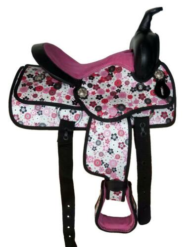 """10/"""" Western Trail Lead-line Synthetic Saddle 4p HSBP FLORAL~Pink Purple Red NEW!"""