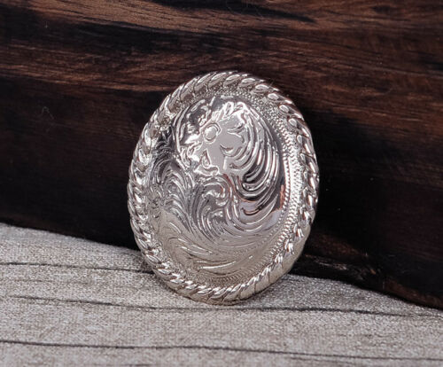 "1-1//2/"" SET 6 WESTERN SADDLE BRIGHT SILVER ENGRAVED FLORAL CONCHO screw back"