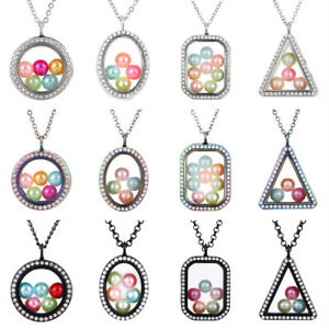Geometric-Living-Memory-Floating-Locket-Pendant-Pearl-Cage-Glass-Locket-Necklace