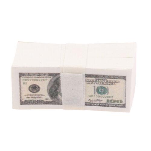 100 Blatt Set Mini Dollar 1:12 Puppenhaus Miniatur Life Money Us $ 100 BankXUI
