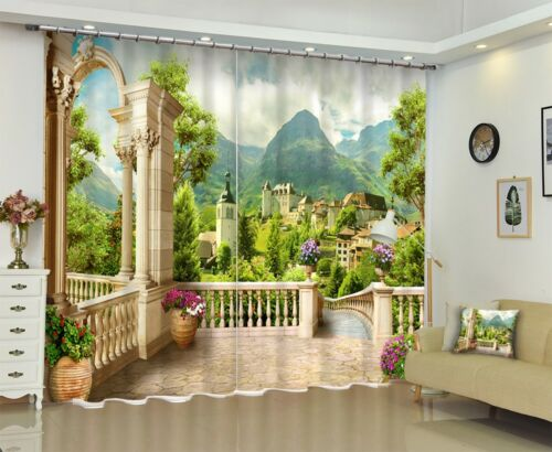 3D Printing Window Curtains Mural Blockout Drapes Fabric Balcony Mountain Scenic