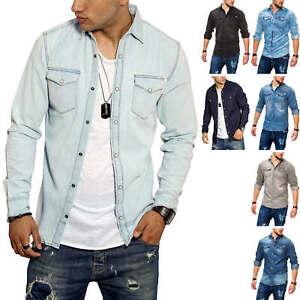 Jack-amp-Jones-Herren-Jeanshemd-Freizeithemd-Herrenhemd-Denim-Shirt-Langarmhemd