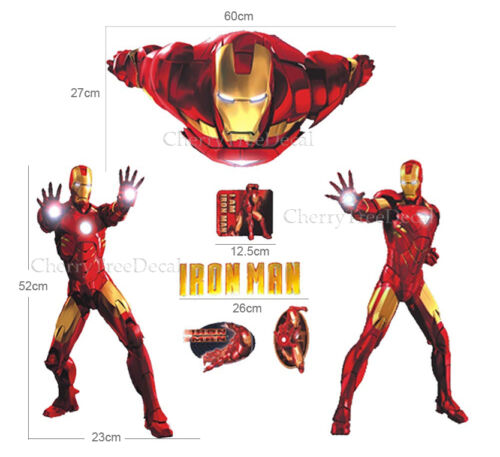Huge IRON MAN Wall Stickers Childrens Boys Bedroom Decal Super Hero Decor Paper