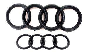 Audi-A1-A3-S3-A4-S4-A5-A6-Black-Emblem-badge-logo-Front-grill-Arriere-Coffre-Set