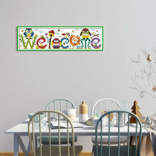 Decdeal 22.8 6.7 inches The Owl Welcome Card Pattern Cross Stitch Kit U4A0