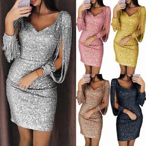 New-Sexy-V-neck-Bodycon-Dresses-Slim-Glitter-Tassel-Elegant-Ladies-Party-Dress