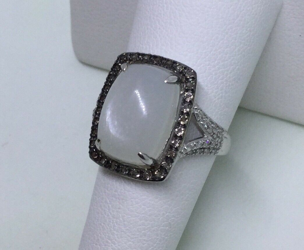 Moonstone ring halo style smoky quartz diamonds 10 karat white gold large