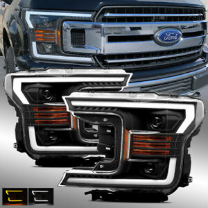 fits   ford  black drlsignal led tube dual projector headlights set  ebay