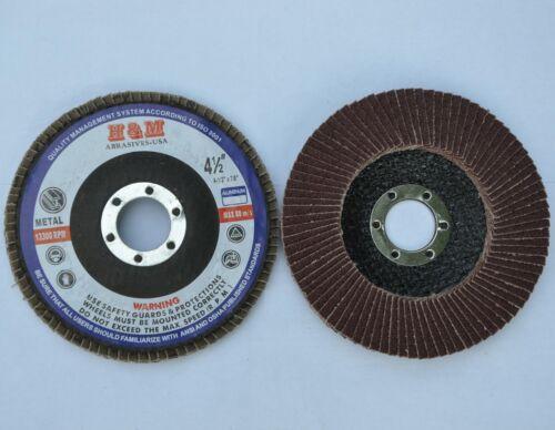 """10 FLAP DISC 4.5/"""" x 7//8/"""" Aluminum Oxide 40 GRIT for Aluminium Etc"""