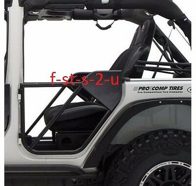 SRC Front Tube Door Textured Black for Jeep Wrangler JK 07-18 Smittybilt 76791