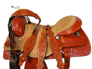 COWBOY WORK WESTERN TRAIL LEATHER HORSE HEAVY ROPER SADDLE FQHB 16  17  ROPING