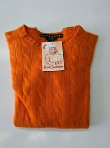 PULL-TAILLE-M-SWEATER-DONNA-100-PUR-CASHMERE-CACHEMIRE-PURE-RALPH-LAUREN-ORANGE