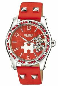 Rebel-Women-039-s-RB111-4051-Gravesend-Crystal-Puzzel-Piece-Dial-Red-Leather-Watch