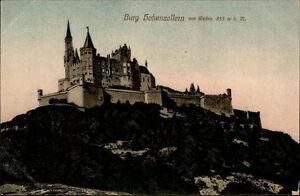 Burg-Hohenzollern-Baden-Wuerttemberg-AK-1910-20-Blick-auf-die-Burg-von-Westen