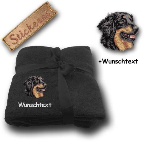 Wunschtext Flauschige Kuscheldecke Hund Hovawart Schwarz Stickerei 180x130cm