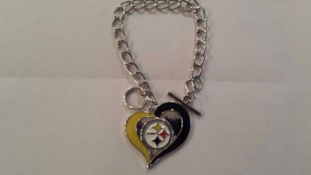 5 Pittsburgh Steelers Charm Bracelet Nfl Women S Fashion Jewelry Black Gold
