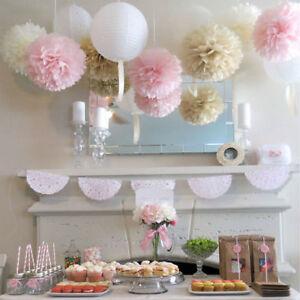 10x-Fleur-Pompon-En-Papier-Boule-De-Fleurs-De-Soie-Decoration-De-Mariage-FR