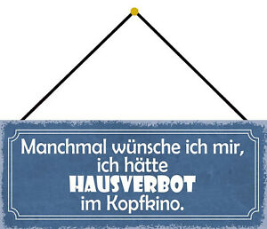 Hausverbot IN Mind Movies Tin Sign Shield with Cord 10 X 27 CM K0789-K