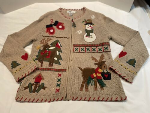 Women's Ugly Christmas Zip Cardigan Sweater Snowma